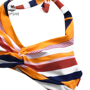 Image 3 - Cupshe Navy En Oranje Gestreepte Twist Halter Bikini Sets Vrouwen Sexy Thong Twee Stukken Badpakken 2020 Meisje Strand Badpakken