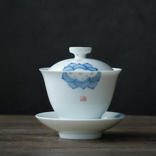 PINNY 185ML Handpainted Lotus Gaiwan Jingdezhen Porcelain Tea Tureen Chinese Kung Fu Set Traditional Drinkware