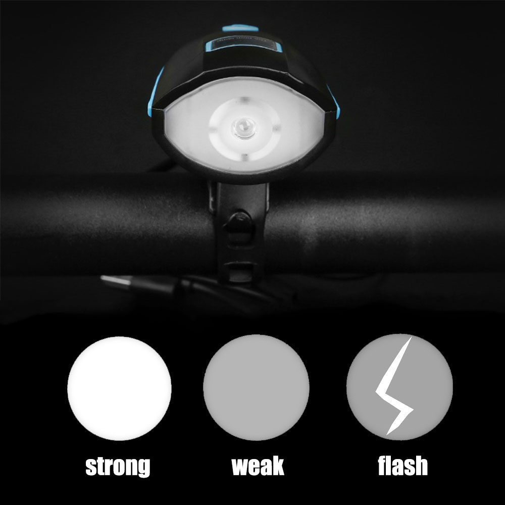 Perfect USB Bicycle Light Power Display Cycling Headlight Led Flashlight with Horn Anti-Theft Bike Light Lamp Built-In 1200Mah Battery 2