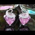 Peacock Star 2 Carat Heart Pink, Silver, Purple Simulated Sapphire Stud Earrings CSE395