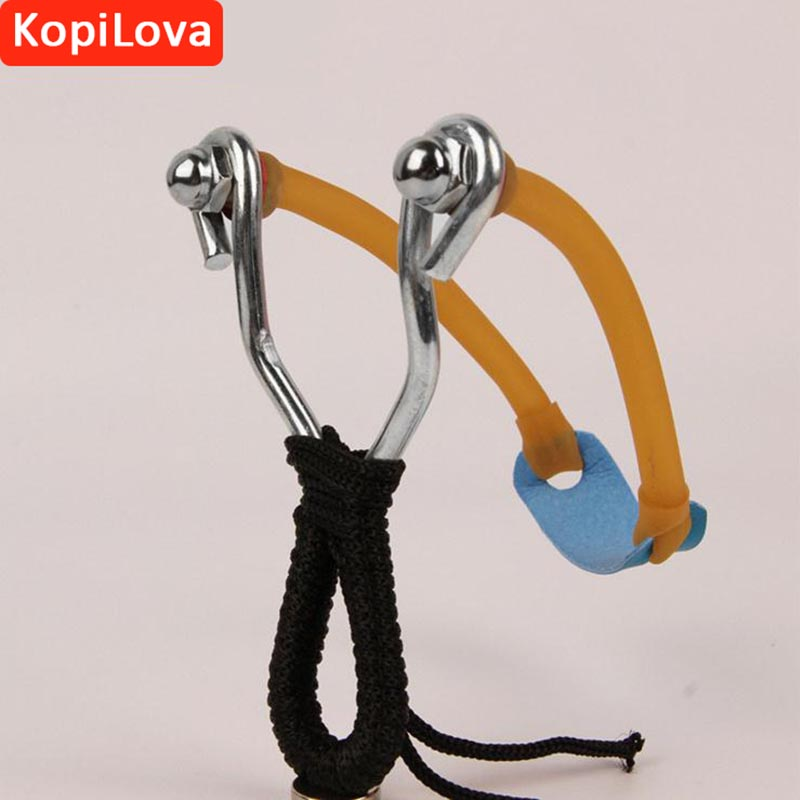 KopiLova 10pcs Outdoor Emergency Self Defense Sling Shot With Rubber Band Stainless Steel Bow Catapult For Hunting Camping