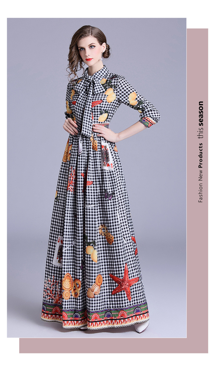 9e814ed5ecda Women Starfish Card Print Plaid Long Dress Ropa De Mujer 2019 Autumn Lapel  Long-sleeved Maxi Dress Robe Longue Femme K6066