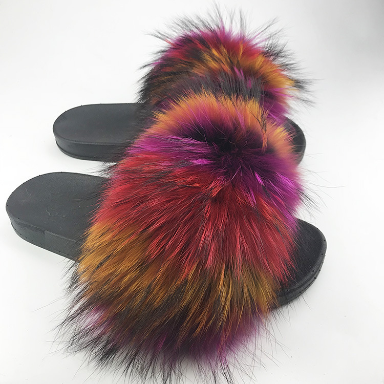 Wholesale Real Fox Slippers Kids Toldder Fur Child Home Slides Girl Flop Flips Raccoon Fluffy Cute Flats Summer Children Indoo