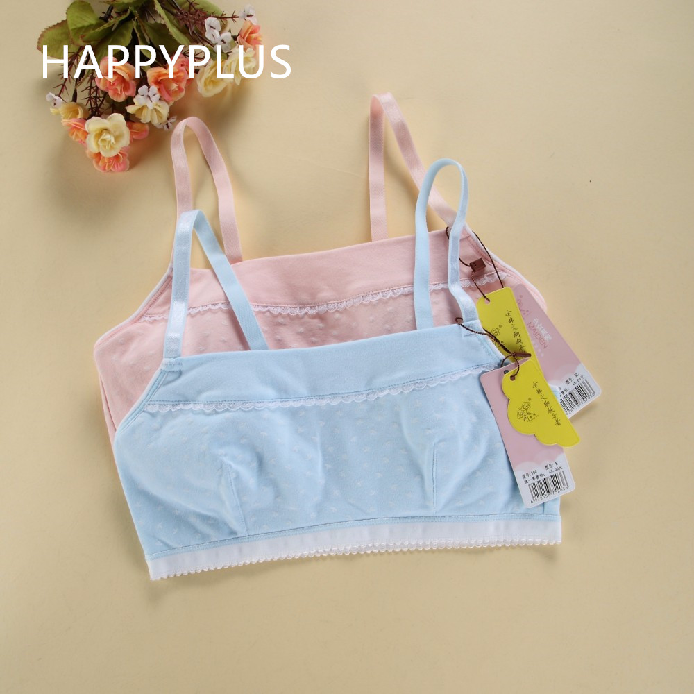 2017 Arrival Kids High Quality 100 Cotton Training Camisole Bras Girl' Comfortable Sports