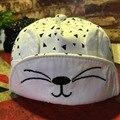 Cat face niños muchachas de los bebés de béisbol cap primavera verano de algodón suave sol sombreros con orejas lindas