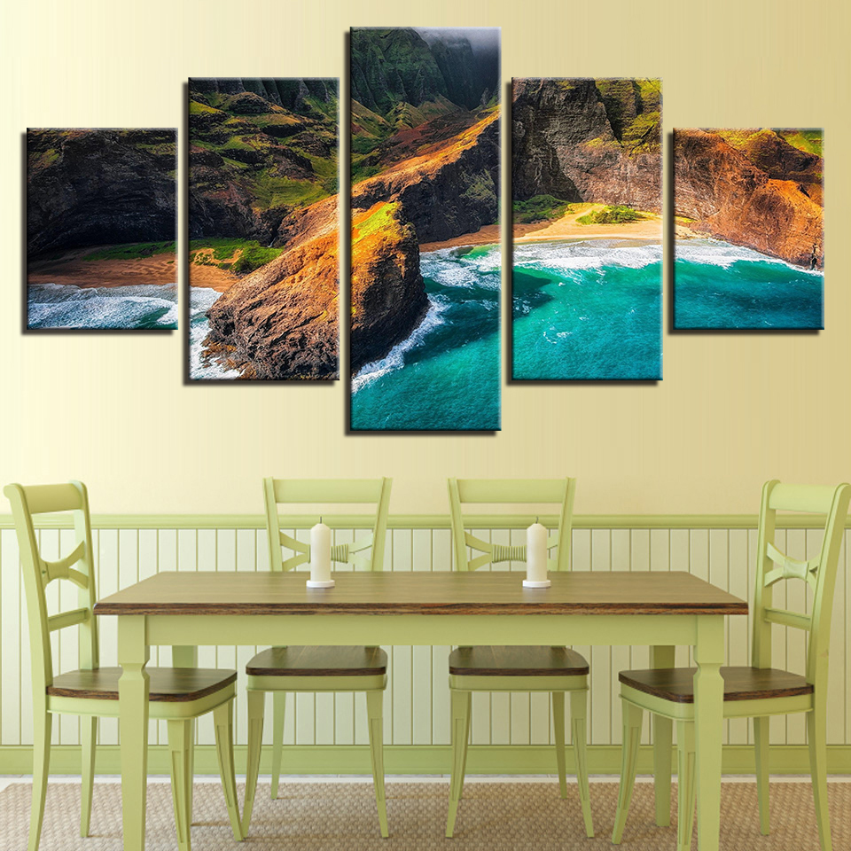 Embelish 5 Panels Modern Home Decor Modular Pictures HD Print Canvas ...