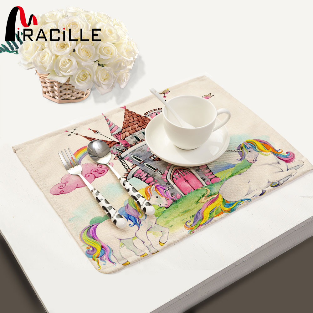 Miracille Coasters Unicorn Pattern Linen Table Placemats Rectangle Table Mat Dinner Insulation Pads Napkin For Kitchen
