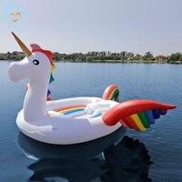 7 Person Giant Unicorn Inflatable Pool Float Rainbow Wing Swimming Float Inflatable Float Island Water Toys Pool Fun Raft