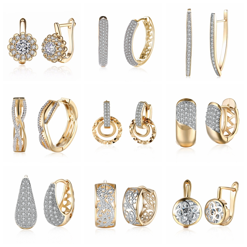 15 Different Style Gold Earrings Hoops Cubic Zirconia Geometric Gold-Color Big Hoop Earrings For Women Dropshipping/Wholesale