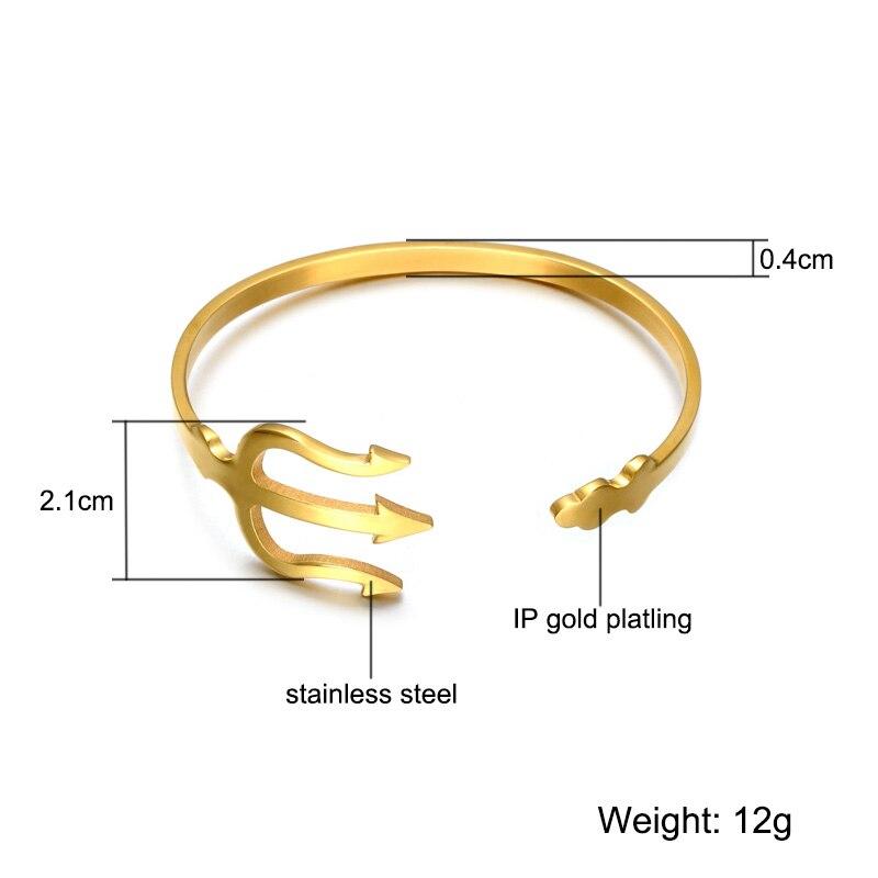 HIP India Cuff Bracelet Open Bangles Rose Gold/Silver Titanium Stainless Steel Fork Trident Bracelet for Men Women Jewelry 5