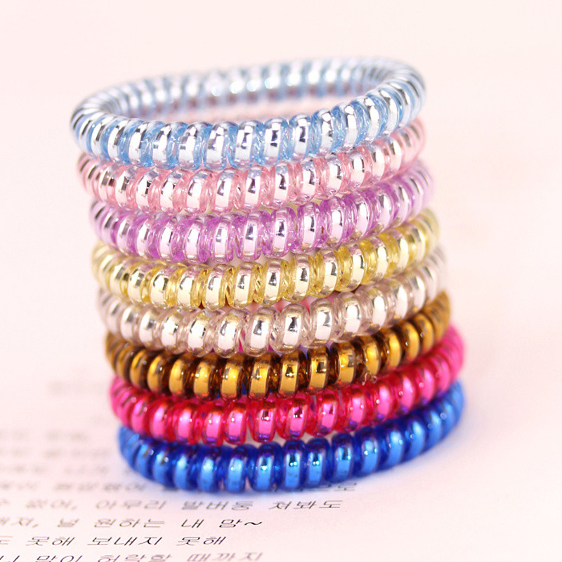 Korean Telephone Wire Hair Band Rubber Holders Elastic Gum For Girl Women Hair Ring Accessory Lots 10 Pcs gorgeous faux feather elastic hair band for women