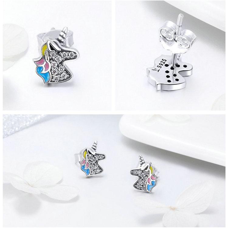 100% 925 Sterling Silver Clear CZ Unicorn Stud Earrings