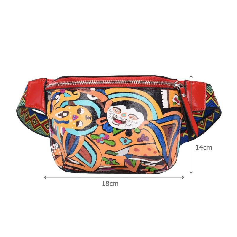 Ethnic-Cute-Fanny-Pack-Waist-Bag-for-Women-Personality-Belt-Bags-PU-Leather-Graffiti-Chest-Handbag