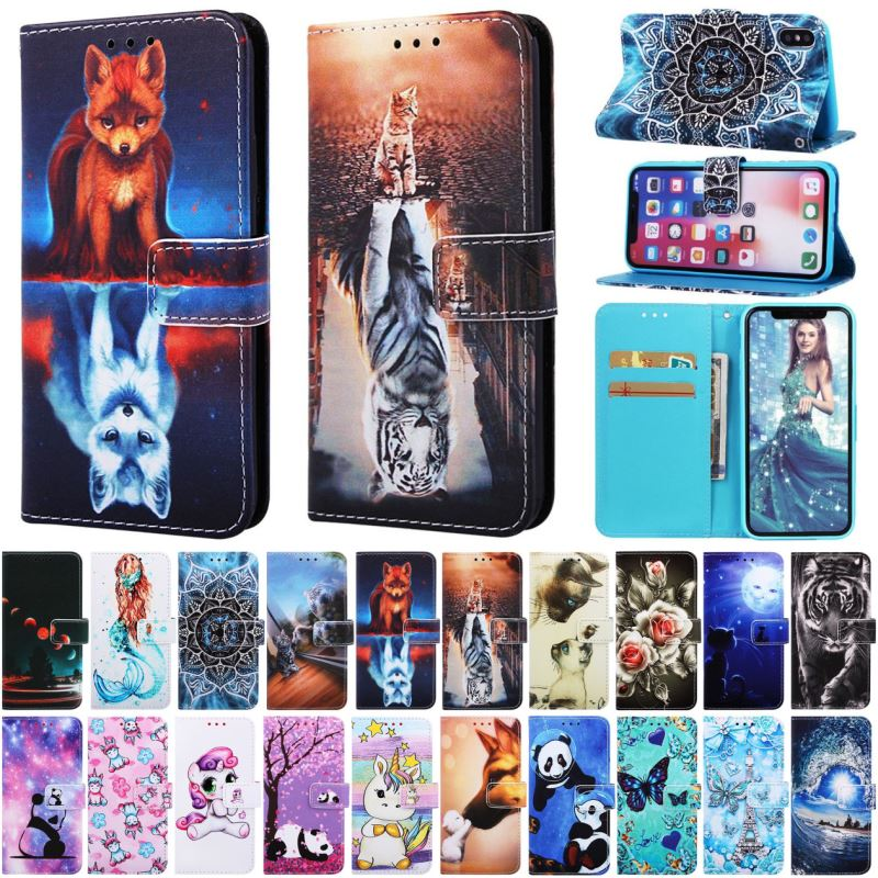 For Fundas <font><b>Samsung</b></font> Galaxy S10E S10 <font><b>S9</b></font> S8 Plus J6 A7 2018 <font><b>Case</b></font> Leather Soft Silicone Holder Wallet Card Slot Cute <font><b>Flip</b></font> Cover E03Z image