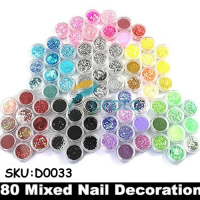 Wholesale 50sets Lot 80 Pots Of Mixed Styles With Glitter Paillette Spangles Beads Powders For Nail