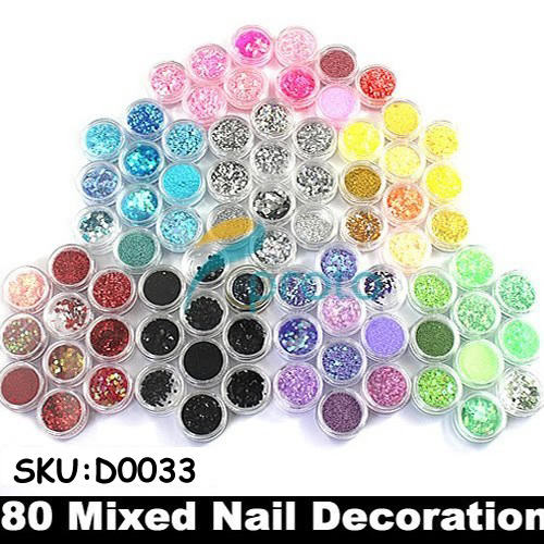 Wholesale 50sets/lot 80 Pots of Mixed Styles with Glitter Paillette Spangles Beads Powders for Nail Art Decoration SKU:D0033X art of war