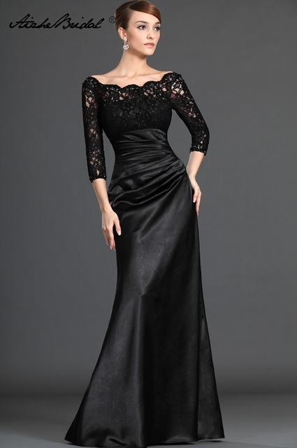 8461e1f5708 Mother Of The Groom Dresses Gorgeous A Line V Neck 3 4 Sleeve Black Lace  Mother of the Bride Dress
