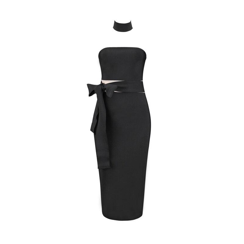 Bandage Évider Moulante Soirée 2018 Nouveau Robes Élégant Bretelles Noir Midi D'été Partie Sexy Robe Medel Chic UI8qfwaI