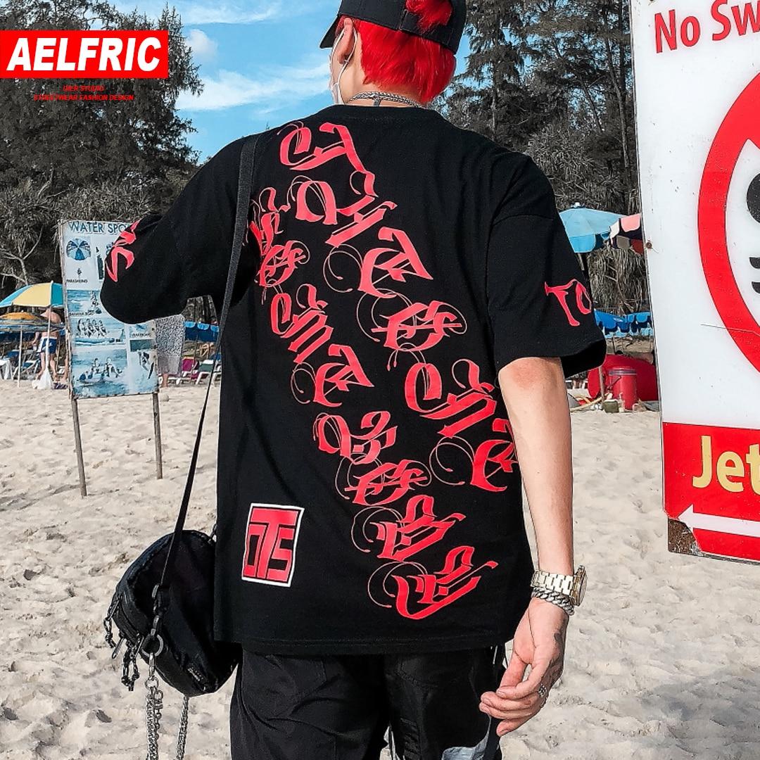 a98fdb52de4f7 AELFRIC Graffiti drukowane męska koszulka z krótkim rękawem t-shirty 2019  lato moda na co