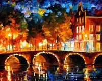 beautiful Painting Home Decor amsterdam old bridge Colorful oil paintings Canvas Modern Fine Art High quality Hand painted