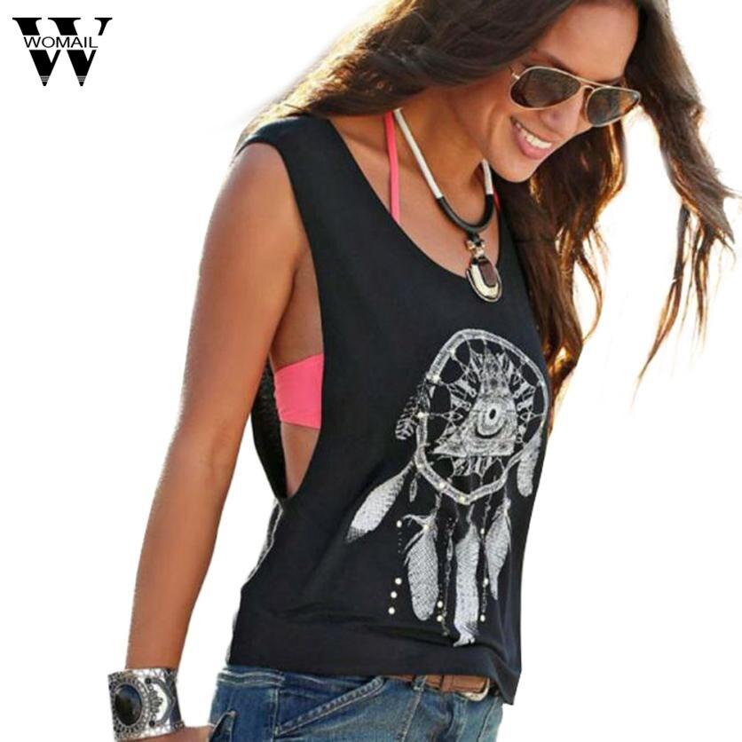 JU 29 Fairy Store 2016 Hot Selling Sexy Women Dreamcatcher Printed Sleeveless Tops Crop Tank Vest Shirt Tee