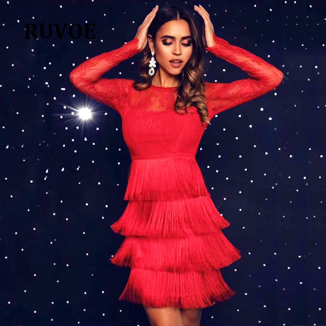 7262d3f1f3412 US $46.4 20% OFF|RUVOE 2019 New Bandage Dress Women Sexy Long Sleeve Black  Red Tassel Mini Club Dress Vestidos Elegant Celebrity Party DressP 38-in ...