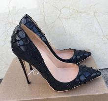 2019 Fashion free shipping Women lady black Leather Poined Toe Stiletto high heel shoe pump HIGH-HEELED SHOE dress shoes