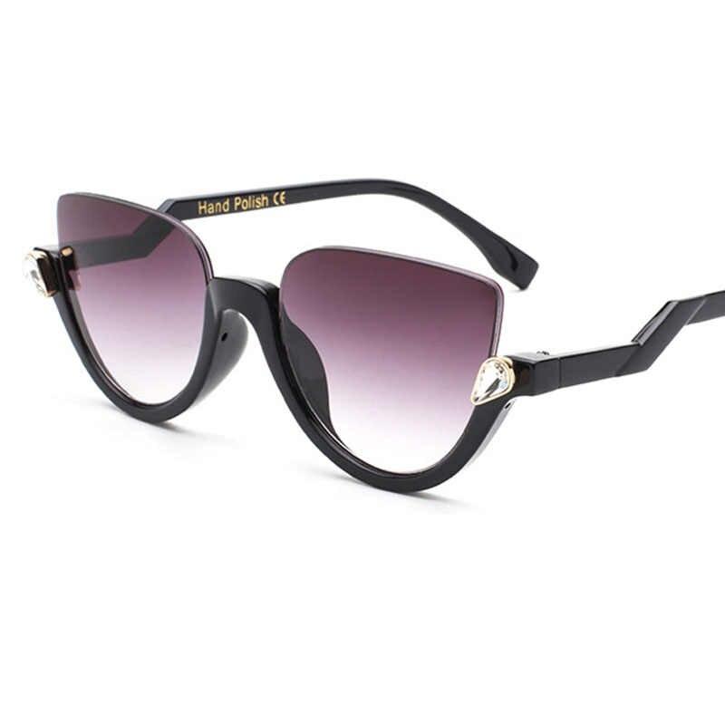 Moda gato olho espelho das mulheres óculos de sol marca designer vintage cateye luxo cristal óculos femininos gradiente quadros