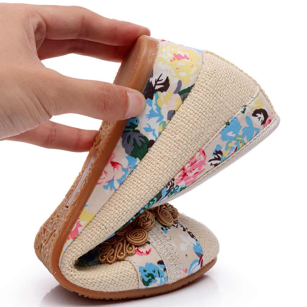 Sping 新女性靴歳北京レトロな中国の花刺繍キャンバスリネン靴 Sapato Feminino サイズ 35-40