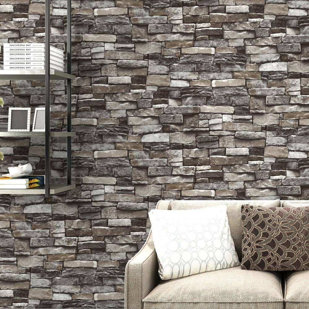 Red,Grey Vintage Rustic Stone Brick Wallpaper Roll Living Room ...