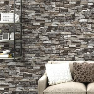 Image 1 - Red,Grey Vintage Rustic Stone Brick Wallpaper Roll Living Room Bedroom Restaurant Background Loft 3d Wall Paper