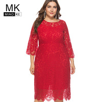 Miaoke Plus Size Red Midi Lace Dress Women Clothing 2018 High Quality Fashion Vintage Sexy Club Party Elegant Dresses 4XL 5XL 6X