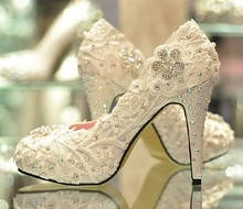 Spring Handmade Glitter Lace Rhinestone High Heels Wedding Shoes Bridal Dress Shoes Women's Pumps Size 31-42