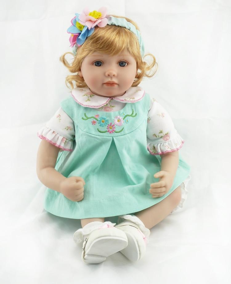 22 inch 55 cm Silicone baby reborn dolls Children's toys Blonde girl  : 91lifestyle