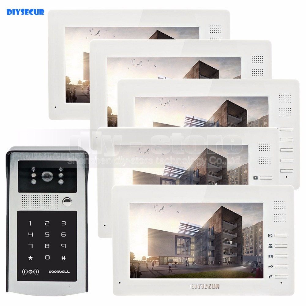 DIYSECUR 7 inch 1024 x 600 HD TFT LCD Screen Video Door Phone Video Intercom Doorbell RFID Reader + Password HD Touch Camera 7 inch video doorbell tft lcd hd screen wired video doorphone for villa one monitor with one metal outdoor unit rfid card panel