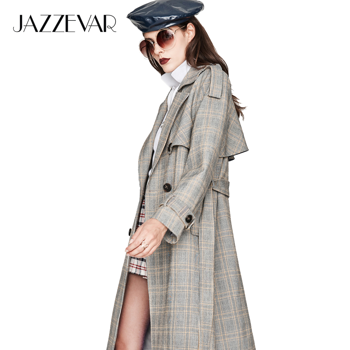 JAZZEVAR new 2019 Autumn Fashion Street Casual Women s Vintage plaid Double Breasted Trench coat Outerwear