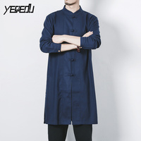 #4301 White/Black Long Cotton Linen Shirts Men Long Sleeve Stand Collar Single Breasted Chinese Style Male Shirt Plus Size 5XL