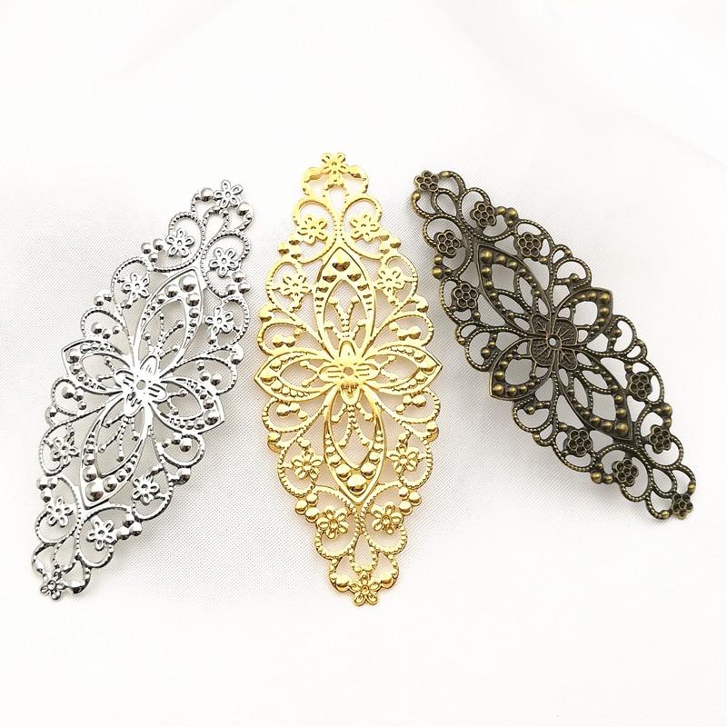 цена на 10pcs/lot Gold color/White K/Antique bronze Metal Filigree Flowers Slice Charms Setting Hair Jewelry DIY Components B100779