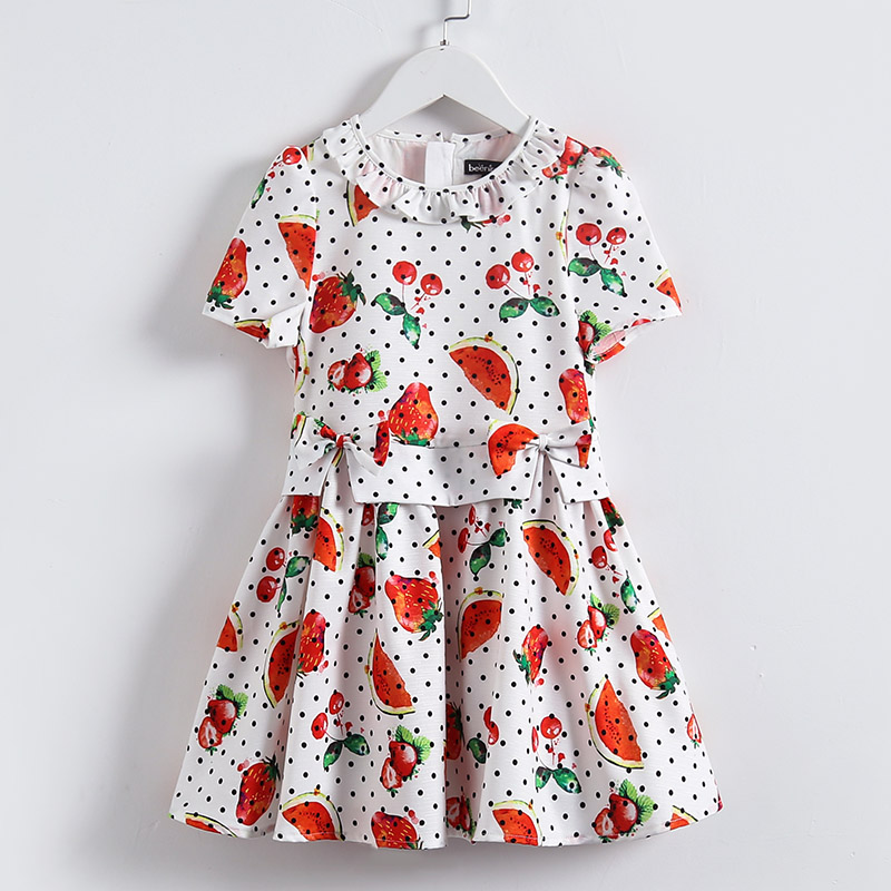 Summer Spring Kids girls Clothes 3Y-14Y clothes children short sleeve fruit print pleated Dress girl birthday party formal dress sun flower print pleated dress