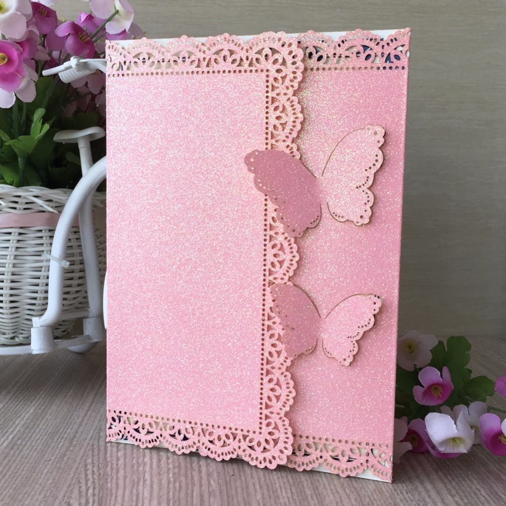 30pcs Bright Pink butterfly wedding invitation laser Luxury ...
