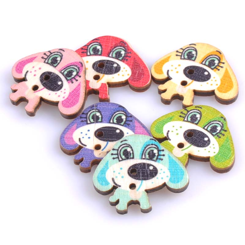 50pcs 26x30mm lovely dog painted wooden decorative buttons for Decorative pins for crafts