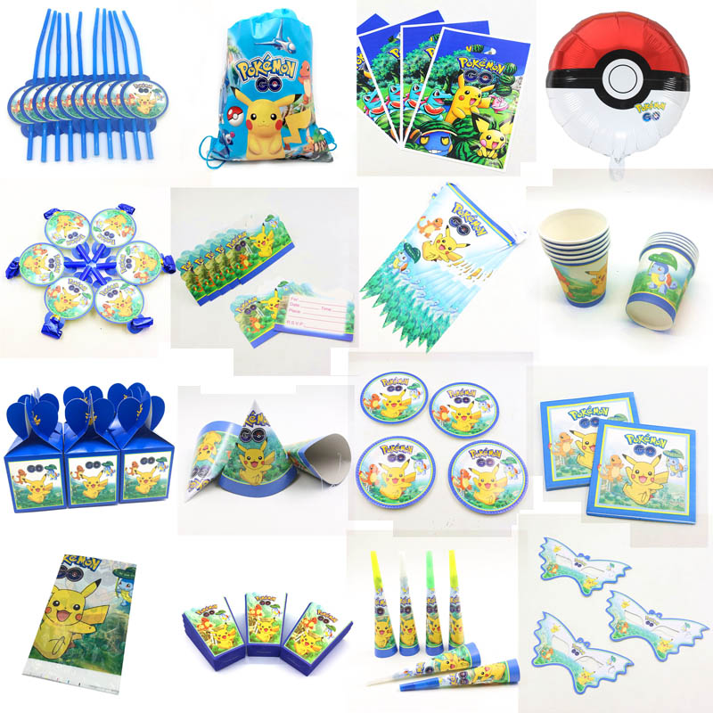 Pokemon Go Cartoon Theme Birthday Party Disposable Decorations Supplies Cup Balloon Horn Pikachu Baby Shower Party Supplies Sets