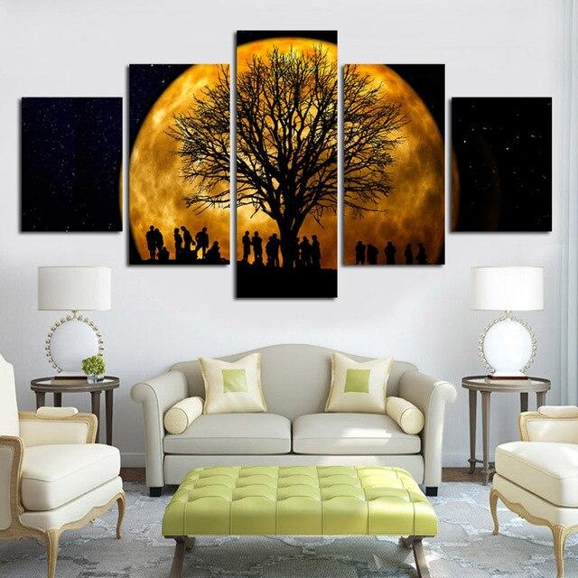 HD Printed Celestial Body Canvas Painting 5 Piece Wall Art Modular ...