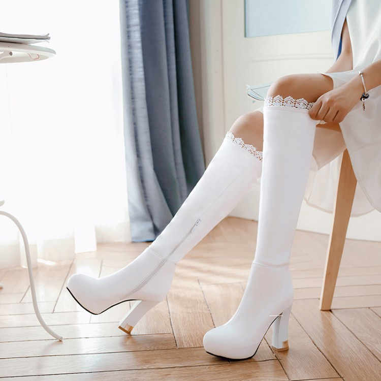 PXELENA Ruffles Knee High Boots Ladies Shoes Elegant Block High Heels Long Boots  Women Wedding Party 9e79bab3649f