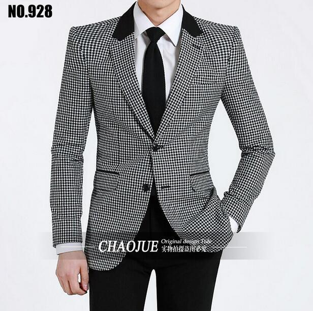 2016 nova Houndstooth de 95% dacron cavalheiro ternos feitos sob medida terno Blazer ternos para homens jaqueta casacos