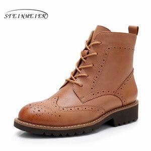 Image 2 - Yinzo ankle boots feminino genuíno couro de vaca dedo do pé redondo rendas up moda senhora botas de salto baixo sapatos de inverno feitos à mão sapatos 2020