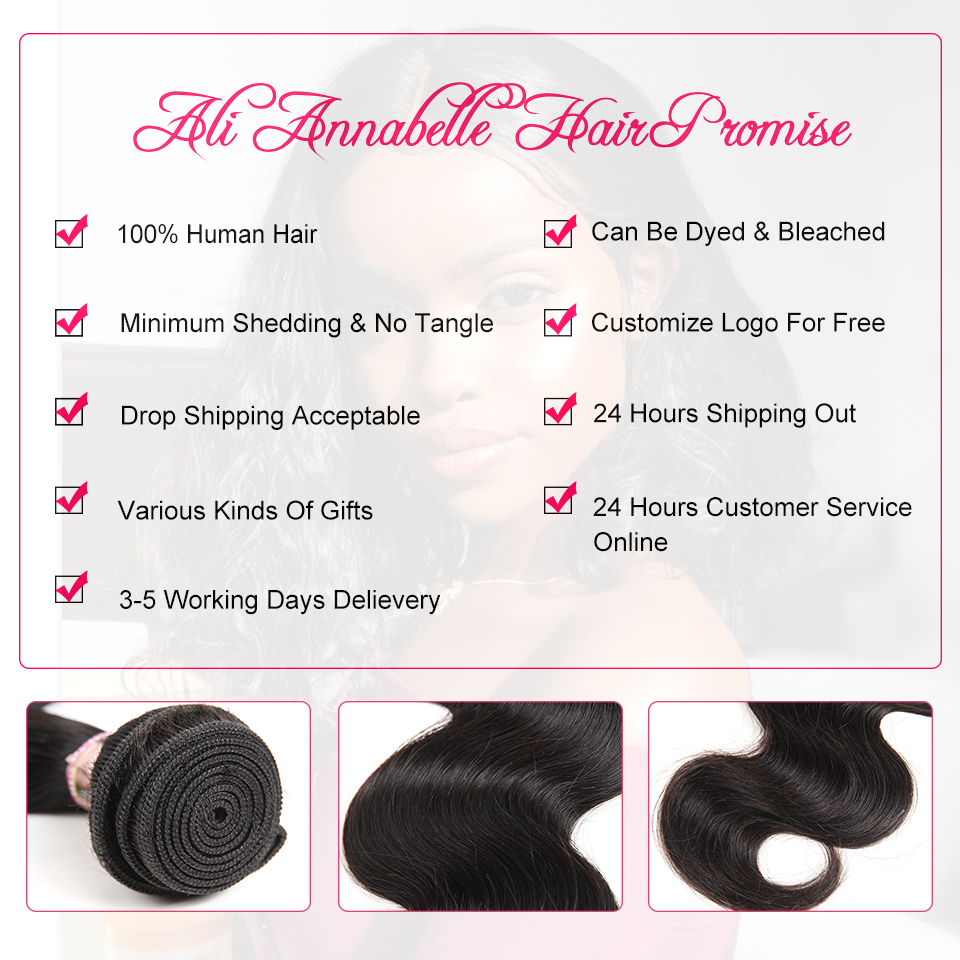 ALI ANNABELLE HAIR Brazilian Body Wave Remy Human Hair Bundles With Closure Brazilian Human Hair Weave Bundles with Closure