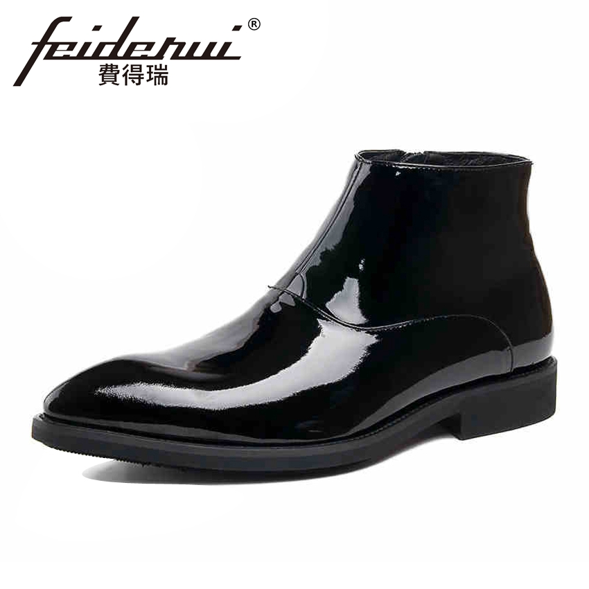 Luxury Designer Patent Leather Men's Wedding Ankle Boots Pointed Toe Zipper Cowboy Man Formal Dress Outdoor Shoes YMX154