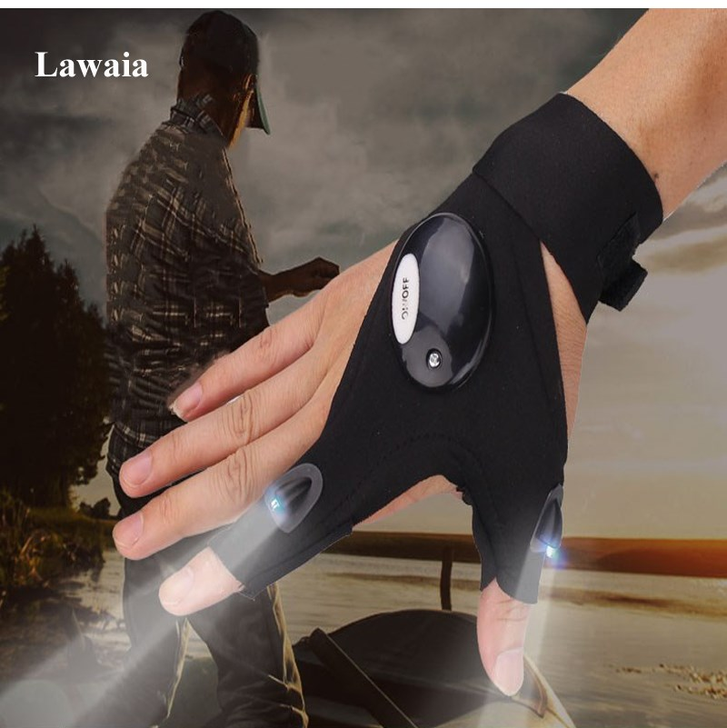 Lawaia Night Fishing Gloves Waterproof Outdoor Camping Glove For Fishing Tackle Sport Anti-Slip Breathable Fishing Gear Supplies
