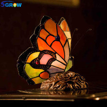 SGROW Art Decor Led Lamps Butterfly Glass Desk Lamp for Bedroom Dining Room Metal Rose Base Table Light Indoor Lighting Fixtures(China)